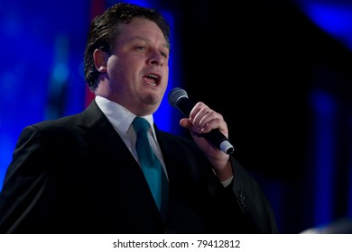 NEW ORLEANS, LA - JUNE 16: Irish Tenor Anthony Kearns sings the National Anthem at the  Republican Leadership Conference on June 16, 2011 at the Hilton Riverside New Orleans in New Orleans, LA.