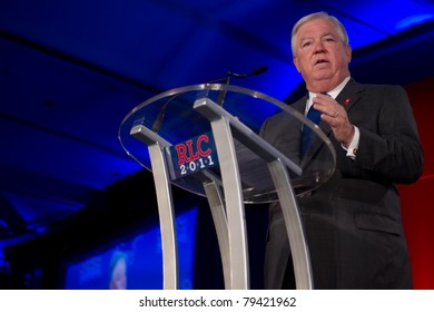 NEW ORLEANS, LA - JUNE 17: Mississippi Governor Haley Barbour addresses the Republican Leadership Conference on June 17, 2011 at the Hilton Riverside New Orleans in New Orleans, LA.