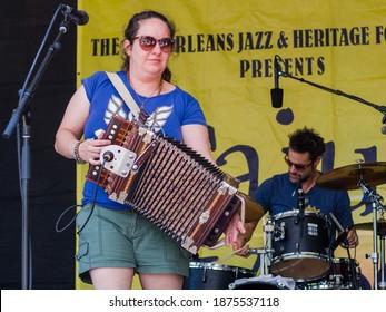 NEW ORLEANS, LA - JUNE 6, 2015: Kristi Guillory of Bonsoir Catin Cajun Band at the Louisiana Cajun and Zydeco Festival in Congo Square