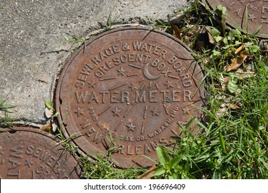 NEW ORLEANS, LA - March 6, 2011: New Orleans Water meter cover.