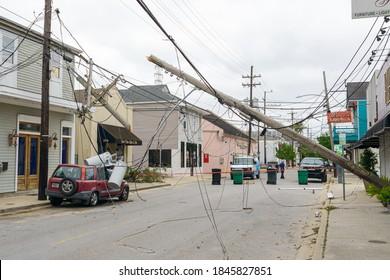 NEW ORLEANS, LA - OCTOBER 30, 2020: Collapsed Utility Pole from Hurricane Zeta on Oak Street