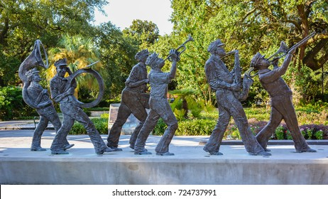 New Orleans, LA - Sep. 24, 2017: Sculptures of celebrated musicians in the Roots of Music Cultural Sculpture Garden in Armstrong Park, New Orleans.