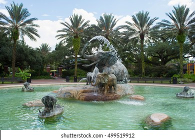 NEW ORLEANS, LA, SEPTEMBER 17, 2016: Fountain with garden at Audubon zoo in New Orleans, Louisiana.