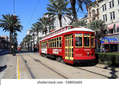 NEW ORLEANS, LA, USA - 25 November 2016: One of the many streetcars serving Canal Street in downtown New Orleans
