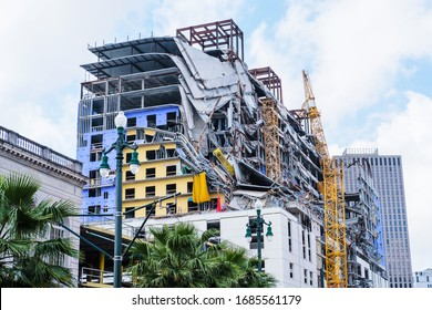 New Orleans, LA / USA - 3/19/2020: Collapsed Hard Rock Hotel Building