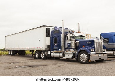NEW ORLEANS, LA, USA - APR 17, 2016: Classic Kenworth semi truck at the parking lot in Louisiana, United States