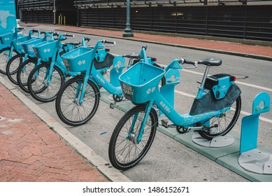 NEW ORLEANS, L.A / USA - AUGUST 19, 2019: Blue bikes rentals are the fun, convenient, healthy way to travel, experience the city, and the french quarter.  Located in The Big Easy, south Louisiana.