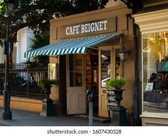 New Orleans, LA / USA - December 19, 2019 - Cafe Beignet on Royal Street is one of four locations in the French Quarter of New Orleans.