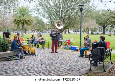 NEW ORLEANS, LA, USA - FEBRUARY 21, 2021: Klezmer band playing in Palmer Park in Uptown neighborhood