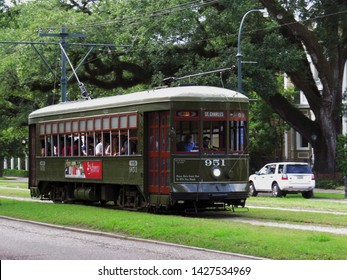New Orleans, LA / USA - June 16, 2019 The St. Charles streetcar has been in operation since 1835, making it the oldest continuously operating streetcar in the world.