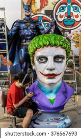 New Orleans, LA USA - June 1, 2015:New Orleans Mardi Gras World Workshop - The Joker, Batman and Artist