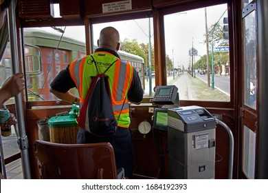 New Orleans, LA - USA, March 12, 2020, RTA or Public Transportation in action just before the Coronavirus scare.  New Orleans, LA- USA, March 12, 2020