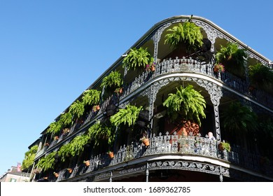 New Orleans, LA / USA - March 31, 2020: The iconic French Quarter is home to many of the markets, clubs, street art and colorful architecture that has made New Orleans a famous travel destination.