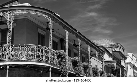 New Orleans, LA USA - May 9, 2018  -  Old French Quarter Buildings with Balcony #4 B&W