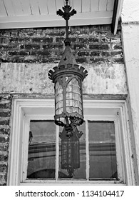 New Orleans, LA USA - May 9, 2018  -  Light Fixture in the French Quarter #5 B&W