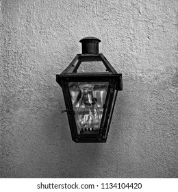 New Orleans, LA USA - May 9, 2018  -  Light Fixture in the French Quarter #4 B&W