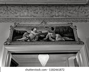 New Orleans, LA USA - May 9, 2018  -  Painting over Doorway in Old Building B&W