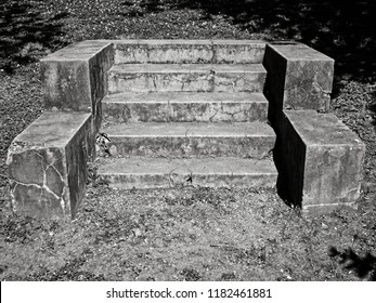 New Orleans, LA USA - May 9, 2018  -  Stairway to Nowhere in New Orleans off of St. Charles Ave in B&W