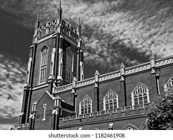 New Orleans, LA USA - May 9, 2018  -  Holy Name Of Jesus Catholic Church Loyola Campus off of St. Charles Ave in B&W