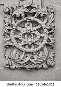 New Orleans, LA USA - May 8, 2018  -  Ornamental Design at Entrance of Building Tulane University B&W