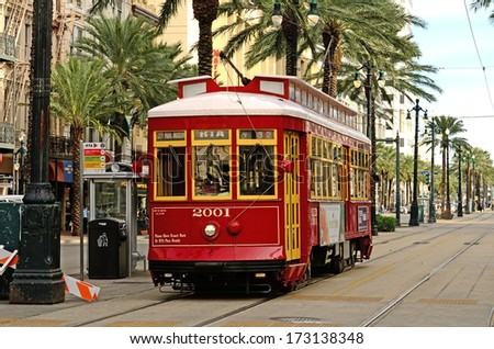 NEW ORLEANS, LA, USA - NOVEMBER 29, 2013: One of the many streetcars serving Canal Street in downtown New Orleans