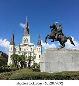 New Orleans, LA, USA October 5, 2017 A statue of Andrew Jackson on horseback dominates Jackson Square, in front of St Louis Cathedral, in New Orleans, Louisiana