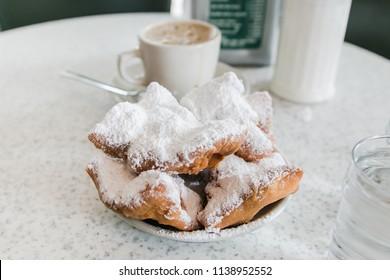 New Orleans, LA / USA - October 10th, 2017: Beignets at Cafe du Monde