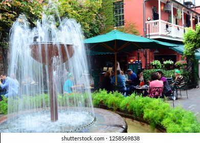 New Orleans, LA, USA October 27, 2015 Folks enjoy outdoor dining at a patio in New Orleans