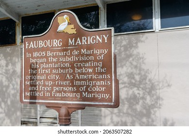 NEW ORLEANS, LA, USA - OCTOBER 24, 2021: Faubourg Marigny historic marker on Esplanade Avenue