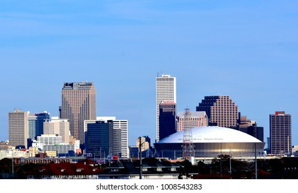 NEW ORLEANS, LA-JANUARY 23:  A skyline image of the business district of the city of New Orleans, Louisiana, on January 23, 2018, featuring the Mercedes Benz Superdome Stadium.