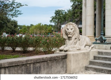 New Orleans, LA/USA - 10/21/17: Lion Statue at the steps of the Peristyle at City Park, New Orleans