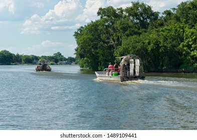 NEW ORLEANS, LA/USA –JUNE 13, 2019: Airboat tours begin their journey toward swamps and bayou of Mississippi River Delta region outside New Orleans.