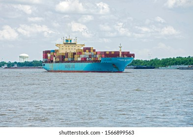 NEW ORLEANS, LA/USA –JUNE 14, 2019: Maersk Line container ship navigating Mississippi River.