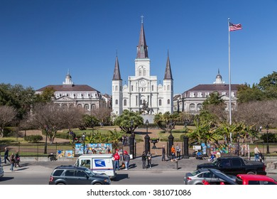 New Orleans, LA/USA - circa February 2016: St. Louis Cathedral and Jackson Square in French Quarter, New Orleans, Louisiana