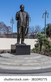 New Orleans, LA/USA - circa February 2016: Louis Armstrong Memorial Statue in the park in New Orleans, Louisiana