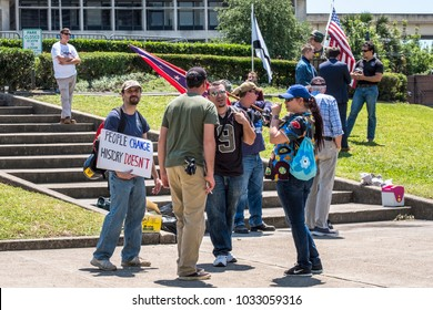 New Orleans, LA/USA-05/07/2017:Demonstrators opposing the removal of the Robert E. Lee statue at Lee Circle in New Orleans.