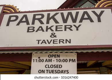 """New Orleans, LA/USA-Jan. 26, 2018: Exterior sign for the world famous and historic Parkway Bakery and Tavern, known for it's great traditional New Orleans food, like """"Poor Boys"""" sandwiches."""