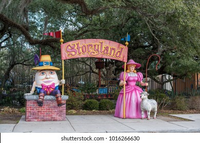 New Orleans, LA/USA-Jan. 26, 2018: The sculpture arch at the entrance to the children's playground, Storyland, in historic City Park.