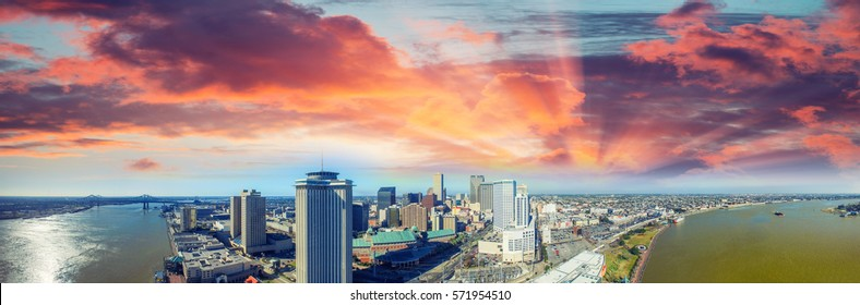 New Orleans, Louisiana. Amazing panoramic aerial view at sunset.