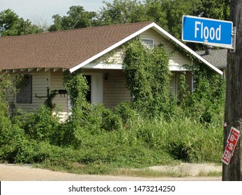 New Orleans, Louisiana - August 12, 2011: A derelict home after Hurricane Katrina on Flood St. New Orleans