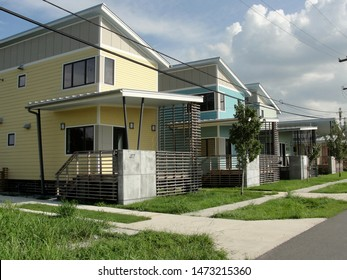 New Orleans, Louisiana - August 12, 2011: Post Hurricane Katrina New Orleans recovery homes