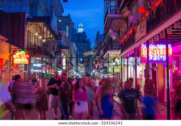 NEW ORLEANS, LOUISIANA - AUGUST 21: Pubs and bars with neon lights  in the French Quarter, downtown New Orleans on August 21, 2015.