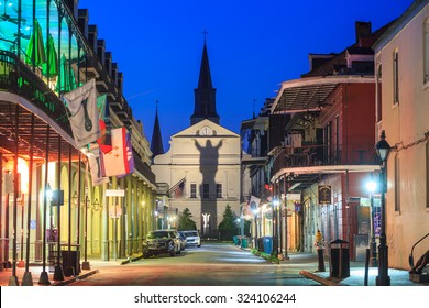 NEW ORLEANS, LOUISIANA - AUGUST 25: The French Quarter in downtown New Orleans at night on August 25, 2015.