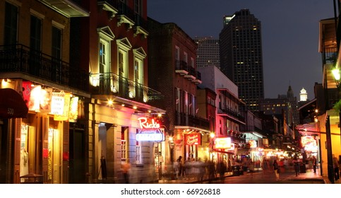 NEW ORLEANS, LOUISIANA - AUGUST 5: Neon lights in the French Quarter on August 5, 2010.  Tourism provides a much needed source of revenue after the 2005 devastation of Hurricane Katrina.