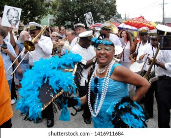 New Orleans, Louisiana - August 7, 2011: Second line parade at Satchmo Summerfest