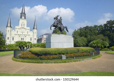 NEW ORLEANS, LOUISIANA - CIRCA 2004: Andrew Jackson Statue & St. Louis Cathedral, Jackson Square in New Orleans, Louisiana