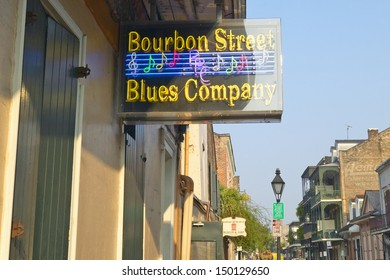 NEW ORLEANS, LOUISIANA - CIRCA 2004: Blues club on Bourbon Street in French Quarter of New Orleans, Louisiana