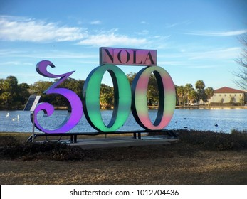 NEW ORLEANS, LOUISIANA CIRCA JANUARY 2018 - Art sign in City Park in celebration of New Orleans 300 year anniversary tricentennial. The city was founded in 1718 by Bienville for the French