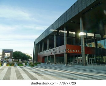 NEW ORLEANS, LOUISIANA: DECEMBER 2016: Side view of the Ernest N. Morial convention center heading to the Outlet Collection Riverwalk in New Orleans, Louisiana.