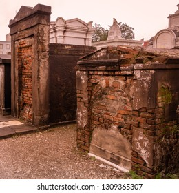 New Orleans, Louisiana - December 31, 2018: The Saint Louis Cemetery 1, in the French Quarter of New Orleans, is the oldest and said to be the most haunted, with above ground crypts.